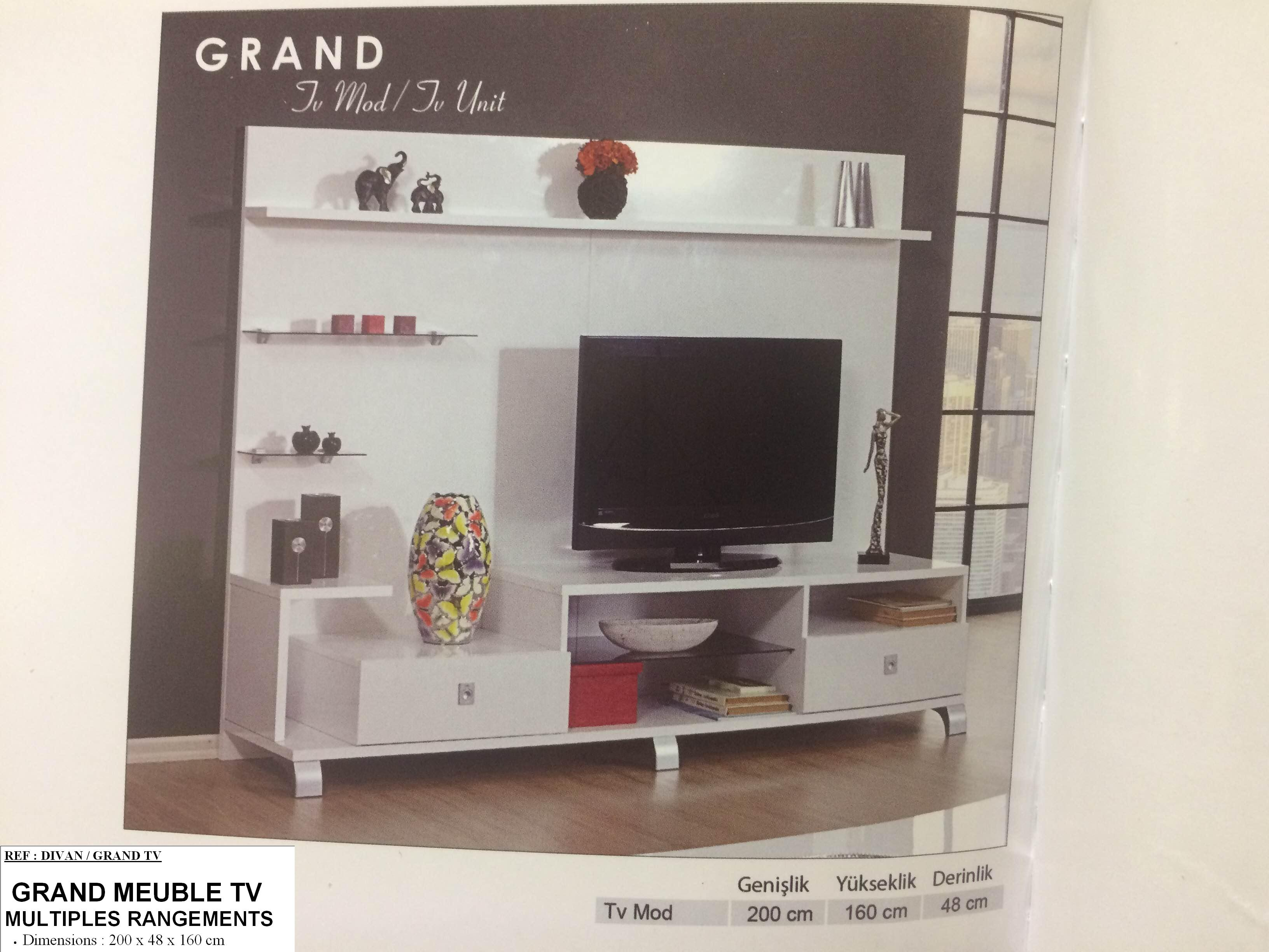 Meuble Tv Living Dekora # Grand Meuble Bas Tv